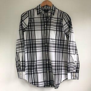 NEW J. Crew white black plaid long sleeve shirt XS